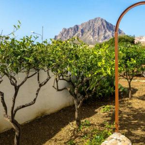 Giardino e agrumeto vista Monte Cofano riserva naturale